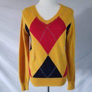 Joe Fresh Lambswool Retro Crewneck Argyle Print Sweater S